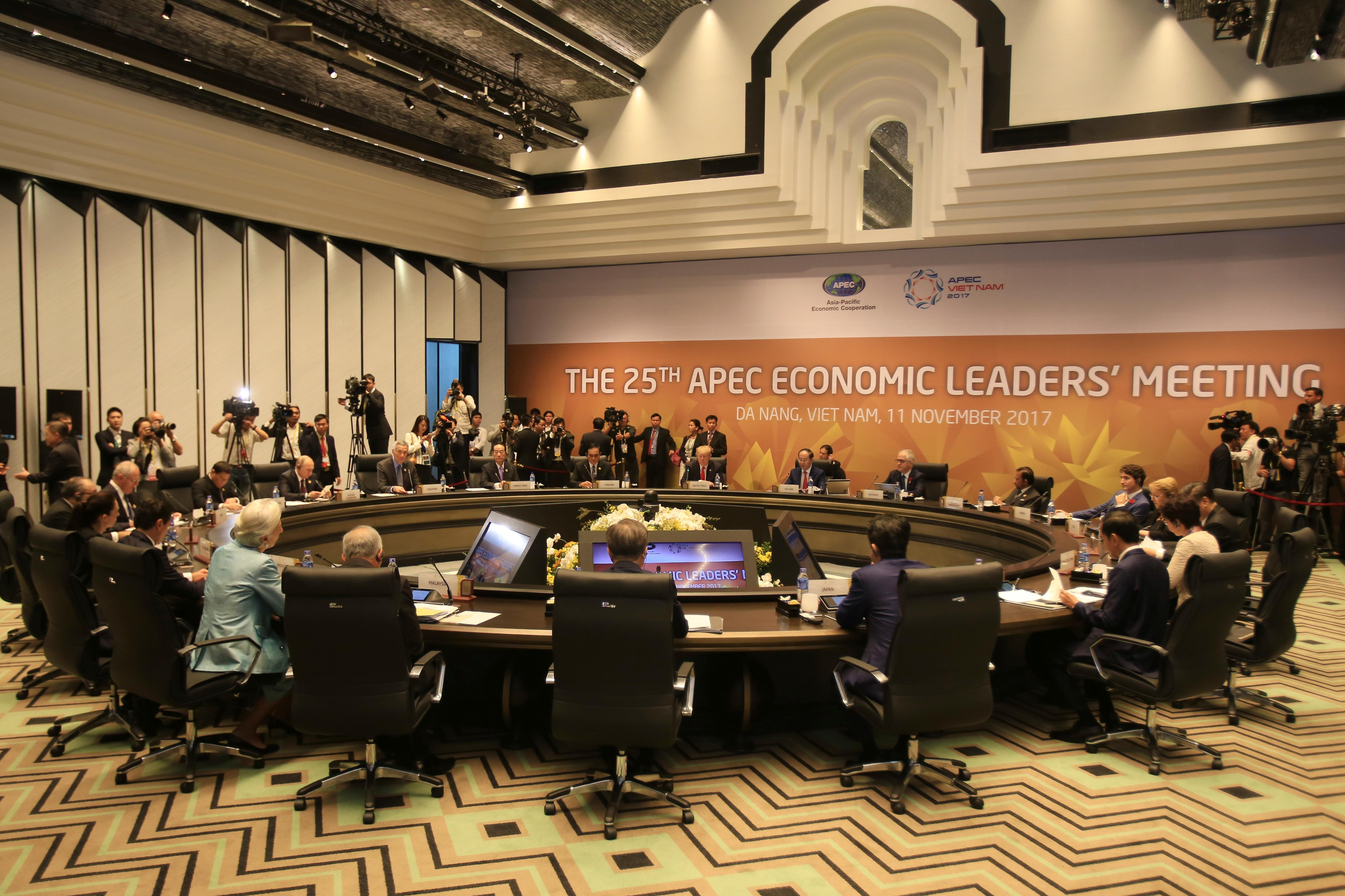Leaders attend the APEC economic leaders meeting in Danang, Vietnam, Saturday, Nov. 11, 2017. {&amp;nbsp;}(AP Photo/Hau Dinh)<p></p>