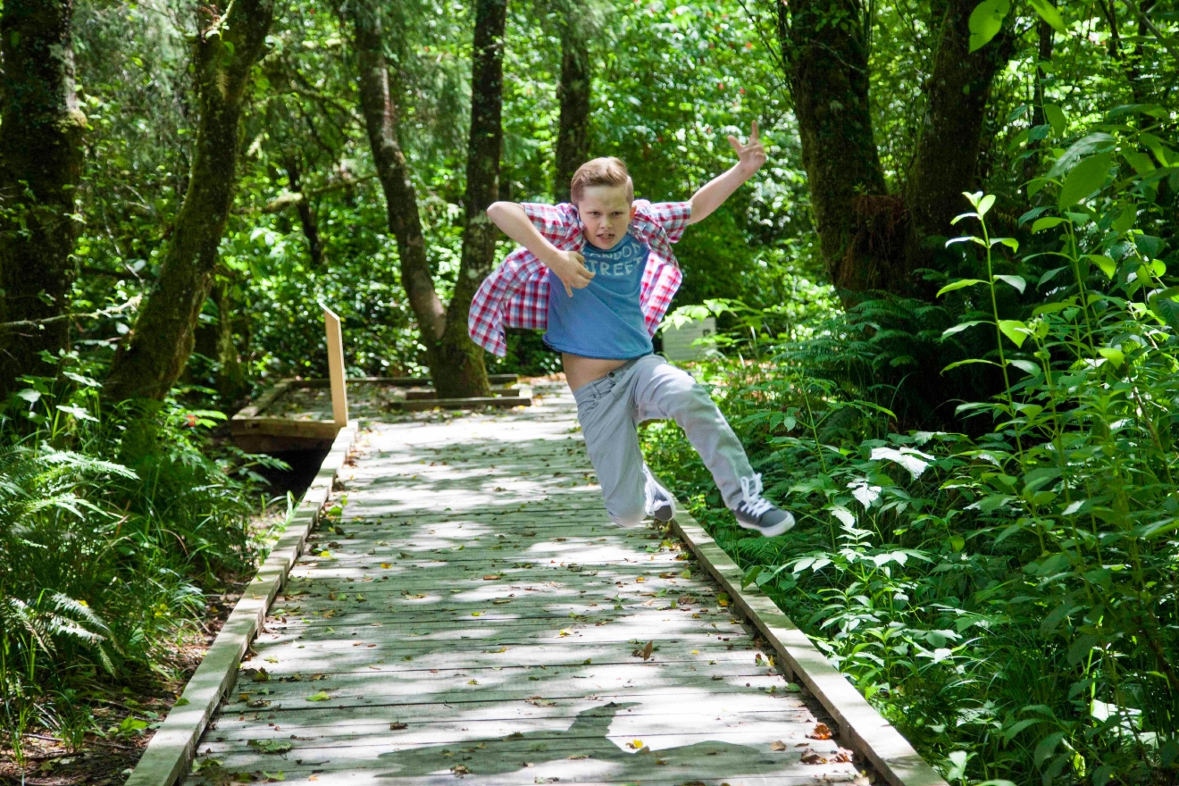 Find beautiful trails throughout the tidal marshes at Kilchis Point Reserve that will make you – or at least the kids – want to jump for joy!