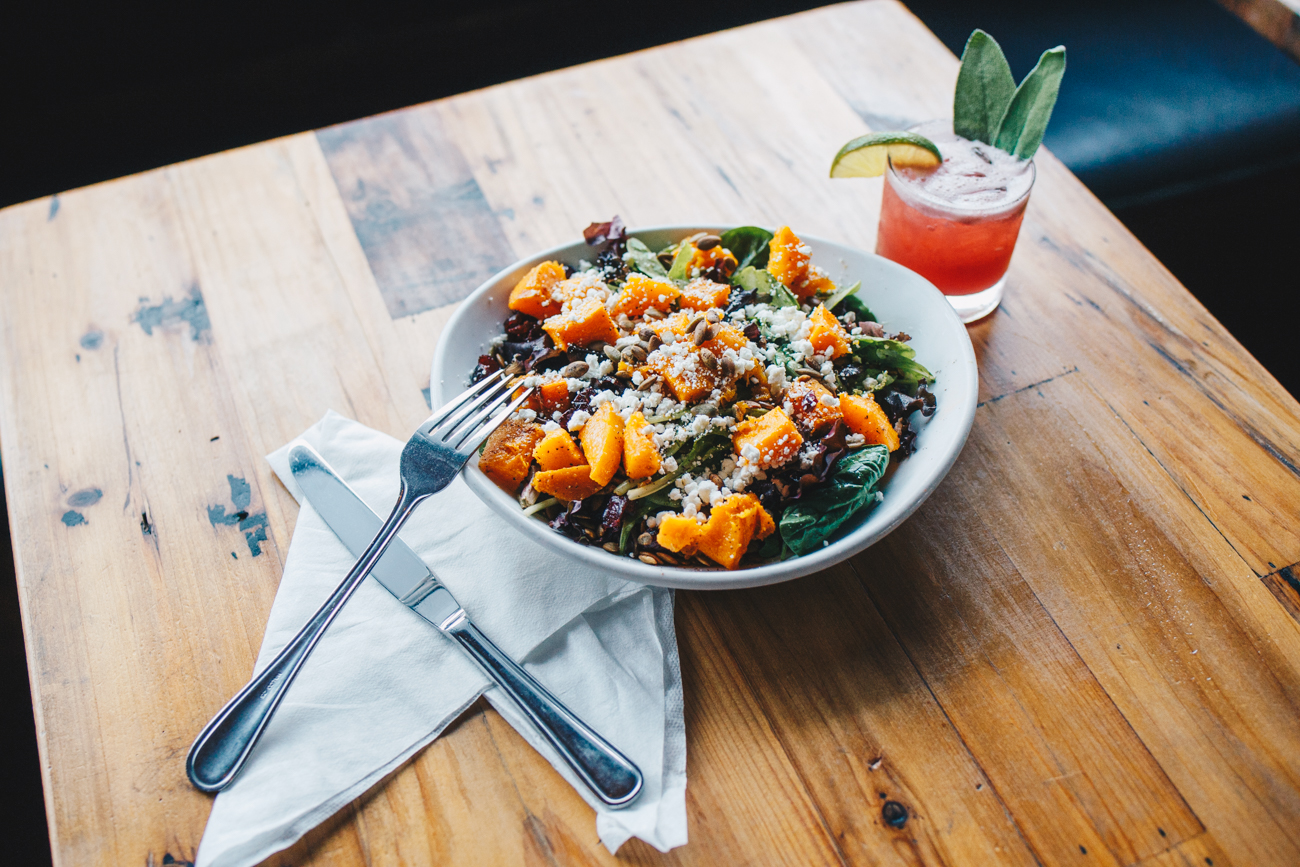 Butternut squash salad with a Blackberry Tequila Fashioned cocktail / Image: Catherine Viox // Published: 10.17.18