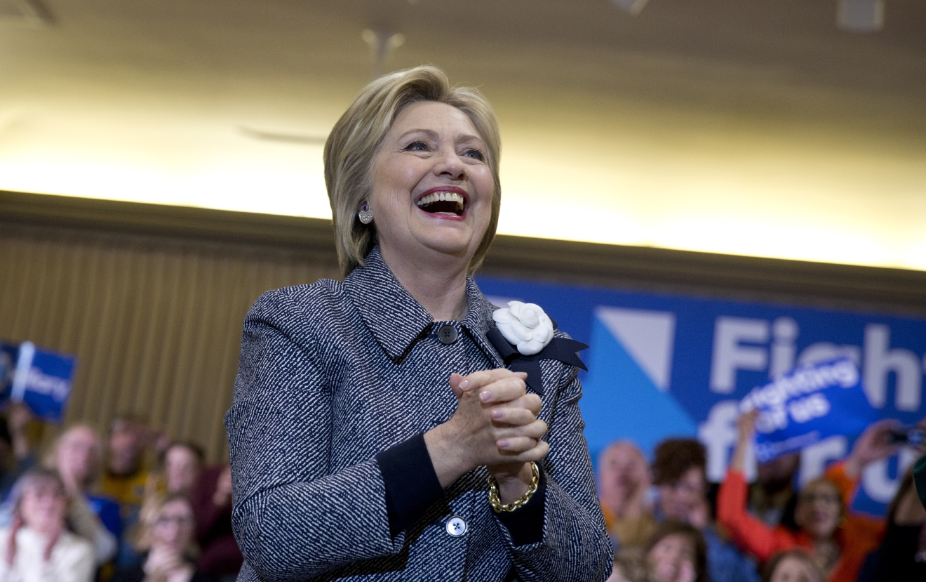 Democratic presidential candidate Hillary Clinton arrives to speak during a campaign event at Chicago Journeymen Local Plumbers Union in Chicago, Monday, March 14, 2016. (AP Photo/Carolyn Kaster)