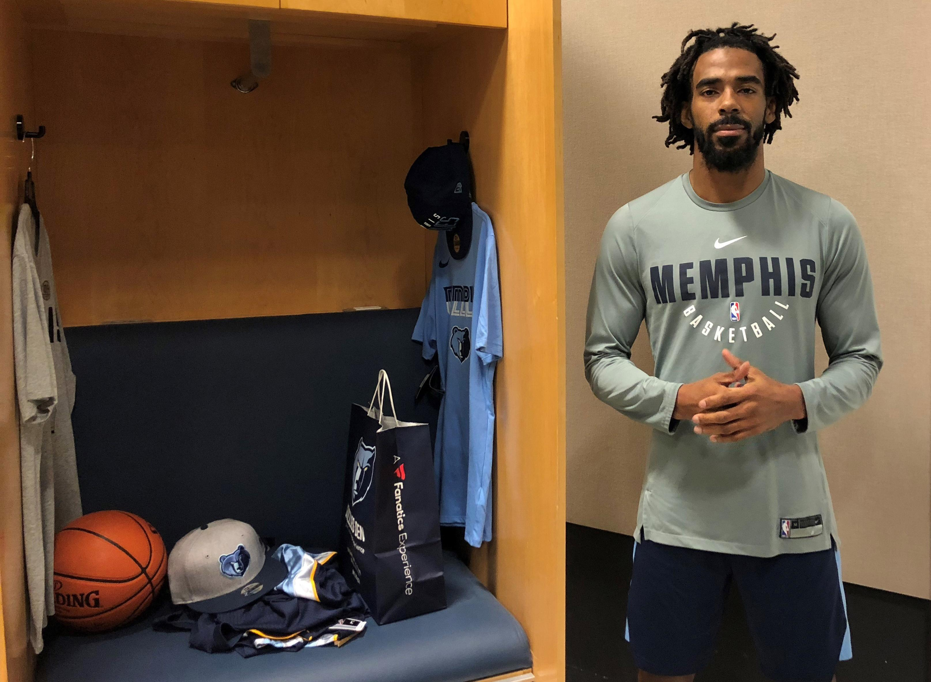 "In this Tuesday, Jan. 9, 2018 photo, Memphis Grizzlies guard Mike Conley talks about the influence on today's society of civil rights leader Martin Luther King Jr.  in Memphis, Tenn. When Dr. Martin Luther King Jr. said returning hate for hate multiplies hate, adding deeper darkness to a night devoid of stars, he wasn't thinking of the world in 2018. More than a half-century later, amid contentious political fights, one of King's memorable quotes from his book ""Strength to Love"" remains relevant. (AP Photo/Adrian Sainz)"