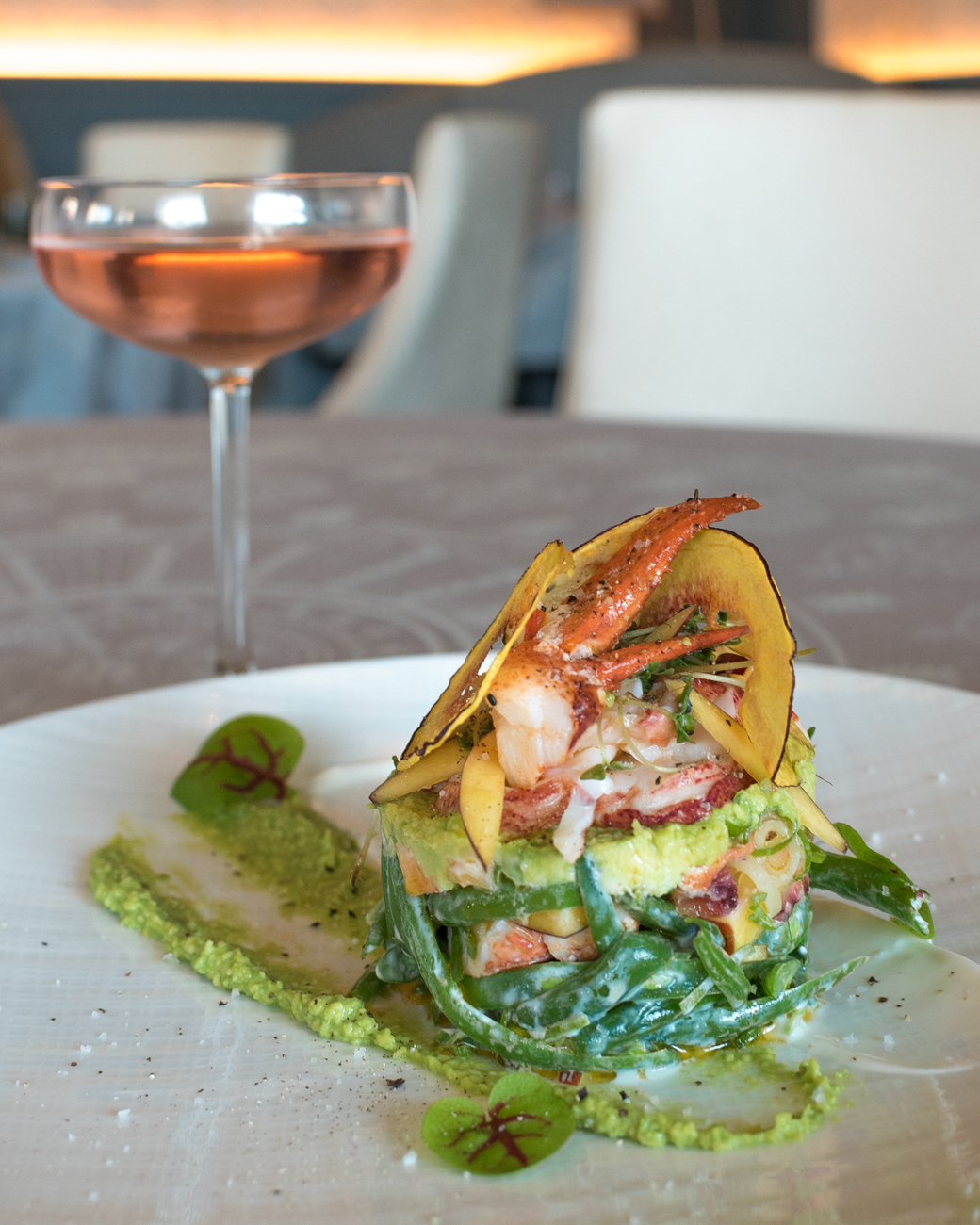 Maine Lobster: nectarine, green beans, avocado, arugula, and yogurt dressing / Image: Phil Armstrong, Cincinnati Refined