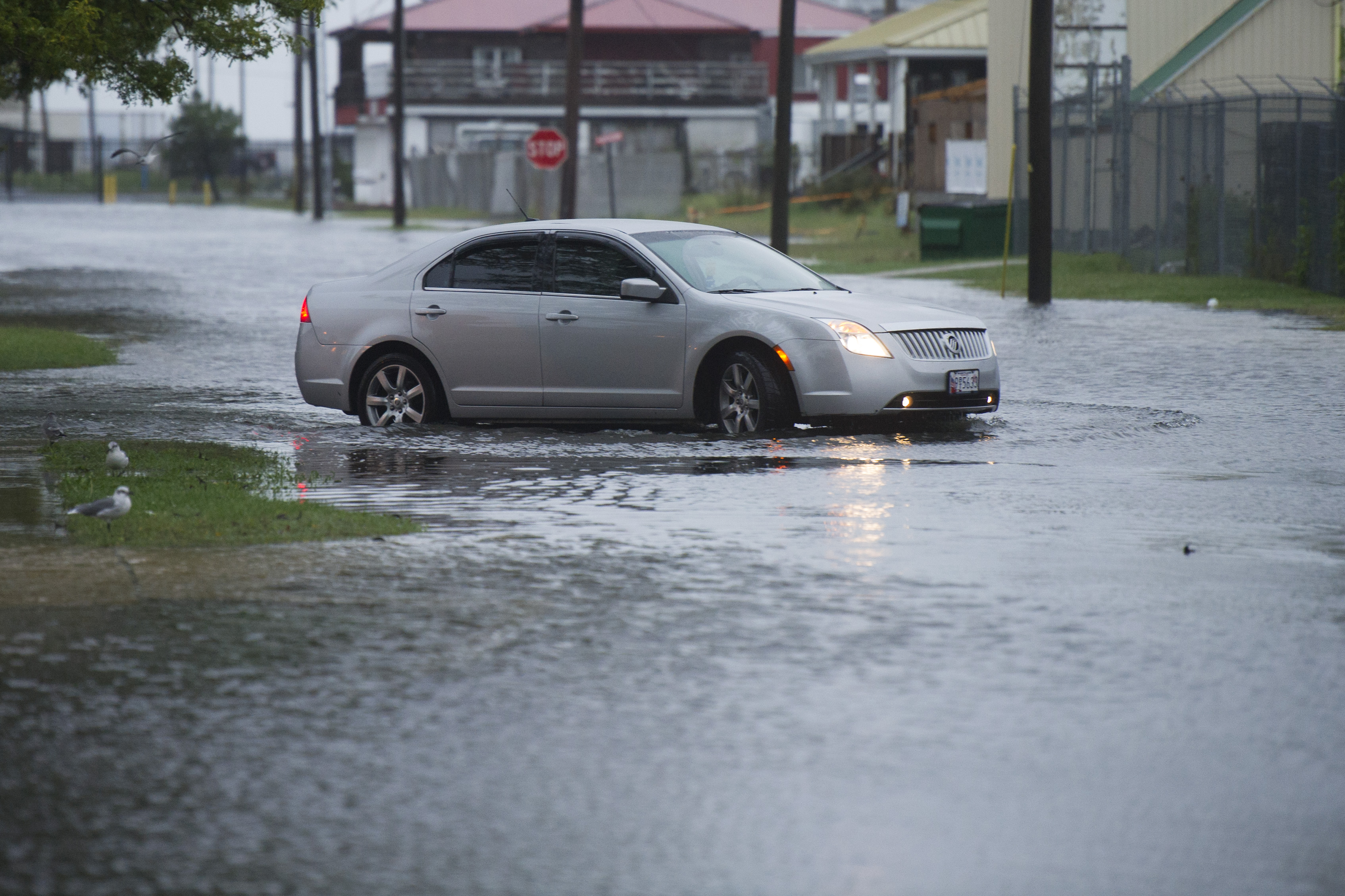 A car drives on flooded Broadway Street in Crisfield, Md., on the Chesapeake Bay, early Sunday, Oct. 4, 2015. Flood warnings remained in effect for many parts of the East Coast through Sunday. (AP Photo/Cliff Owen)