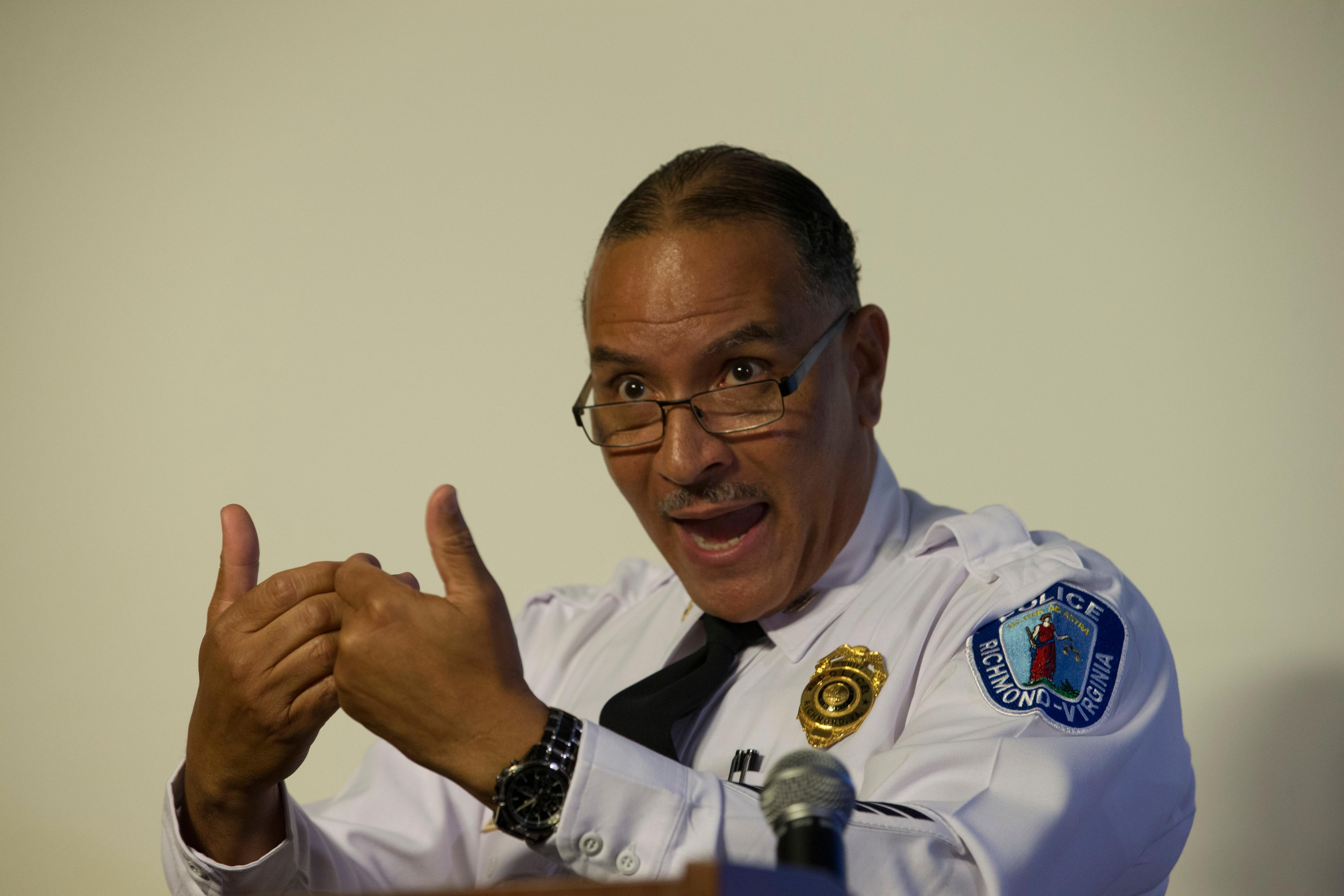 Richmond Police Chief, Alfred Durham, gestures during a news conference in Richmond, Va., Friday, May 25, 2018. Durham released the video of Marcus-David Peters' fatal shooting earlier this month. The video shows the officer first used a stun gun when Peters approached him. Police say it was not effective and the officer then shot Peters twice in the abdomen. (AP Photo/Steve Helber)