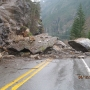 Rock slide blocks state Route 20, briefly stranding students