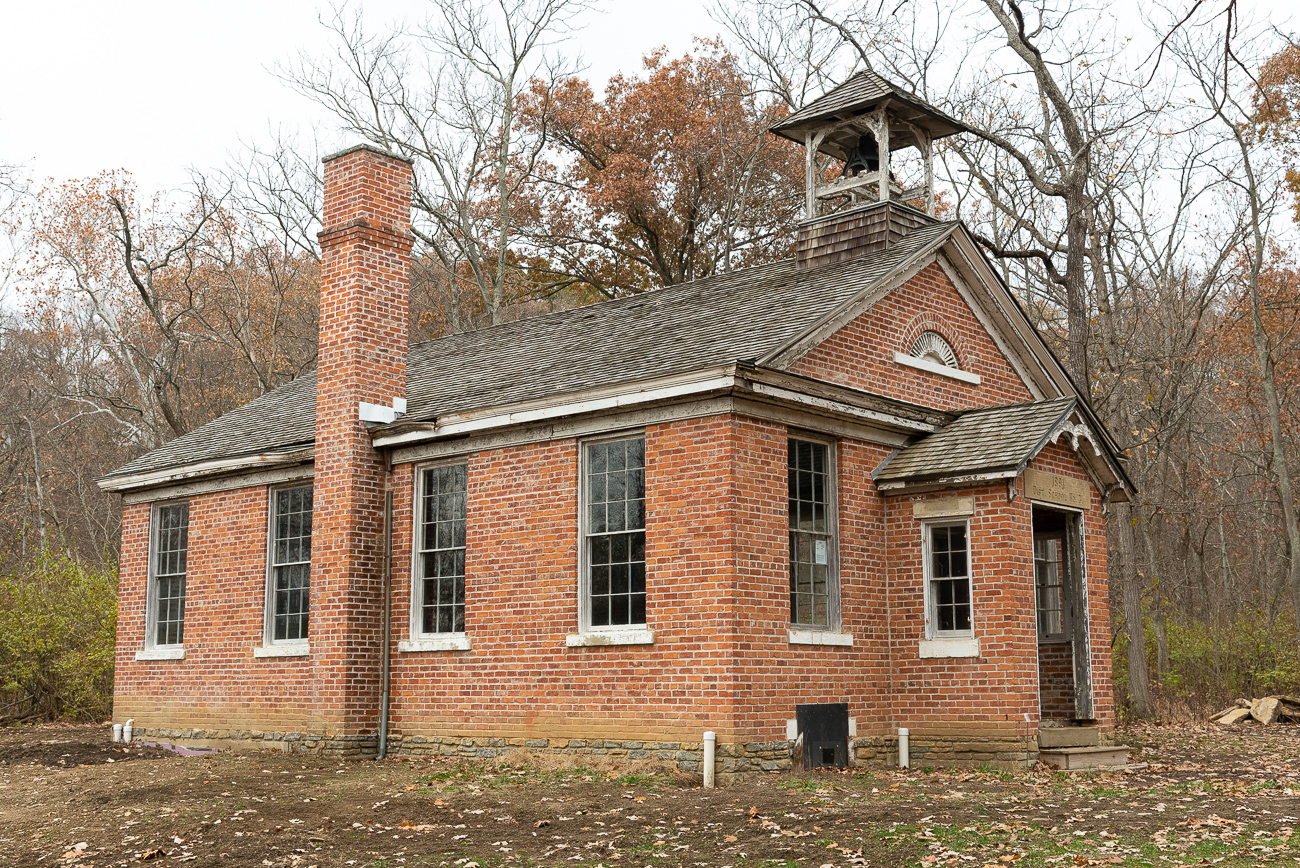 The Myers Schoolhouse, originally located in Delhi Township, was only used for academics for 35 years before being closed and sold at auction in 1926. Since its sale, it's been used as a private entertainment venue, interior decorating business, vision therapy office, and community reading center. In 2009, the schoolhouse was moved to Heritage Village. For the last decade, the museum has been raising funds to slowly restore it. It is currently still a work in progress and isn't open to the public.{ }/ Image: Phil Armstrong, Cincinnati Refined // Published: 12.5.19