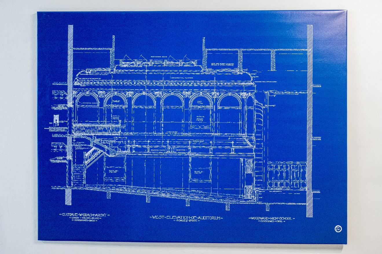 Many of the original school's blueprints from the early 1900's are mounted around the building. / Image: Daniel Smyth
