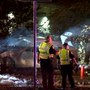Driver trapped in burning car dies