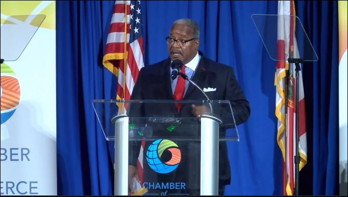 West Palm Beach Mayor Keith James gives the State of the City. (WPEC)