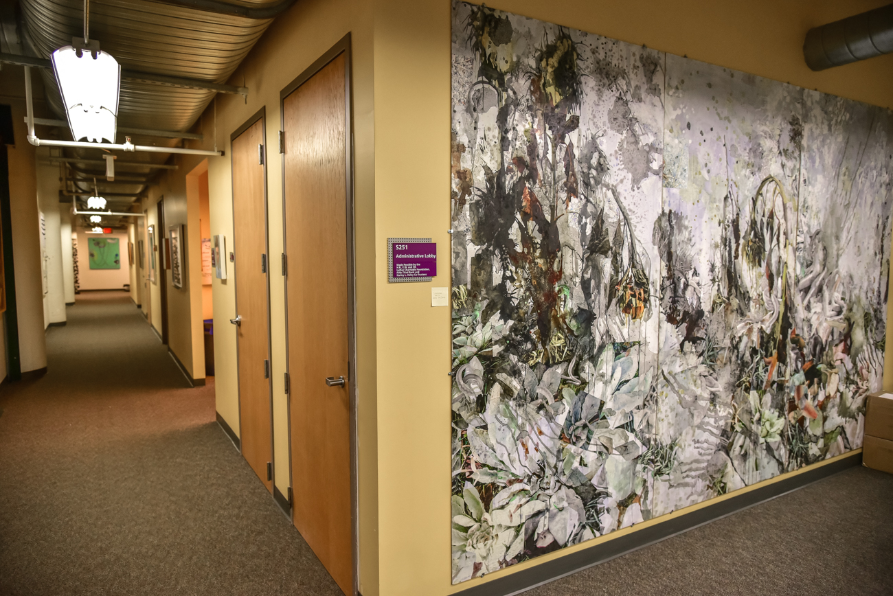 The executive offices display graduate work. This large painting was created by Katie St. Clair, Class of 2013. At the end of the hall is a painting by AAC Dean Kim Krause. / Image: Phil Armstrong, Cincinnati Refined // Published: 2.16.17
