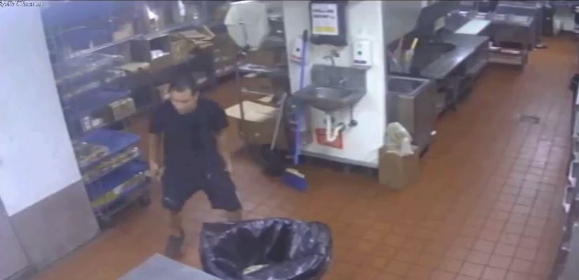 Surveillance video shows a serial burglar July 26 breaking into Sonic Drive-In, 13200 N. May.  (Oklahoma City Police Department)