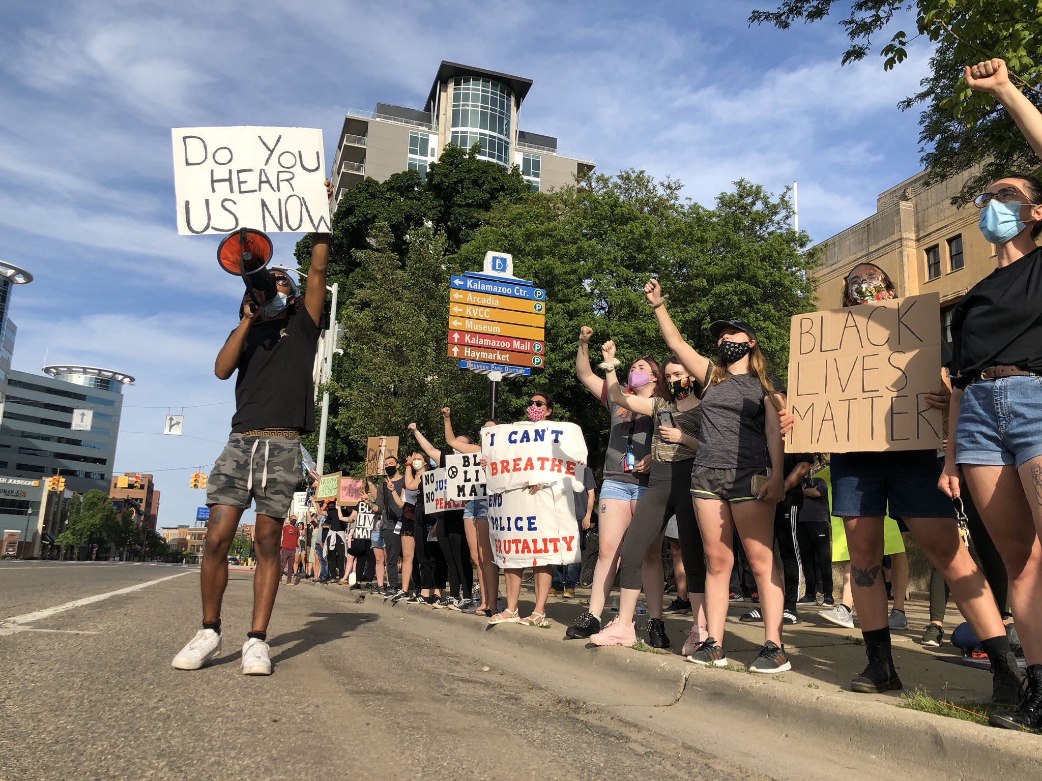 "Protesters chanted, ""What was his name?"" ""George Floyd"" ""What did he say?"" ""I can't breathe"" in front of the Kalamazoo County Courthouse June 3, 2020. (WWMT/Genevieve Grippo)"