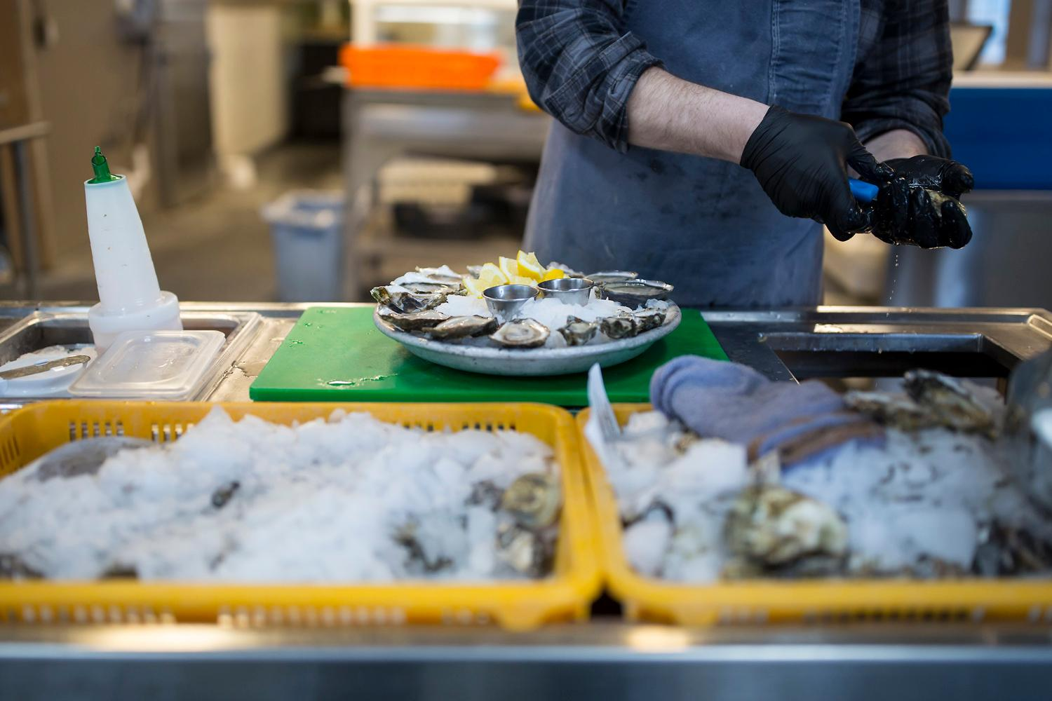 Freshly shucked oysters at Taylor Shellfish's retail shop, located at 2182 Chuckanut Dr, in Bow, Washington. (Sy Bean / Seattle Refined)