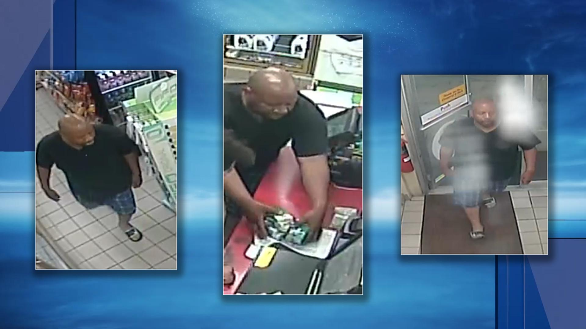 The Warwick Police Department is asking the public to help them identify a man accused of stealing cigarettes from a Warwick gas station. (Police photos)