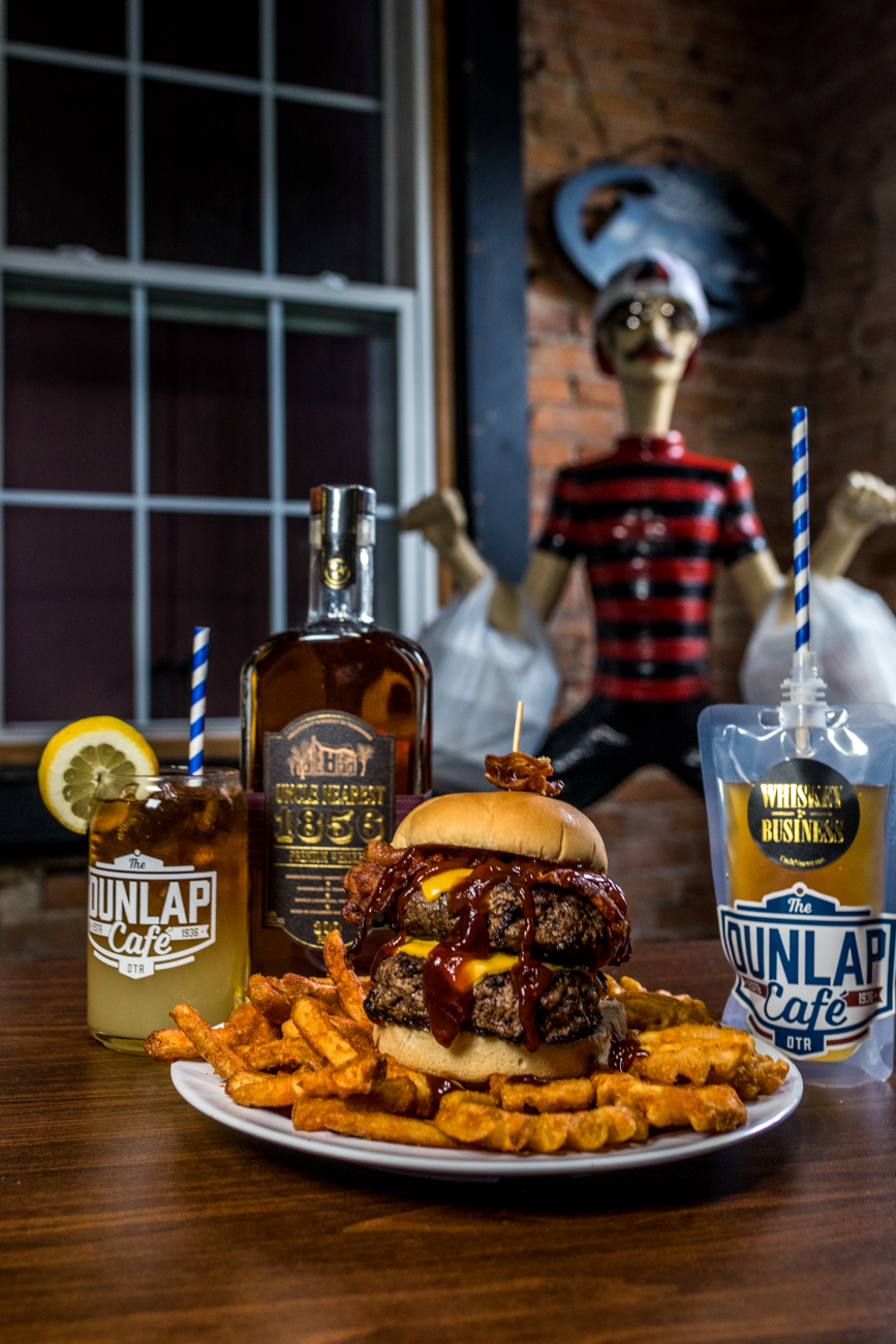 PLACE: Dunlap Cafe / ADDRESS: 1926 Dunlap Street (Over-the-Rhine) / Arnold Palmer: Uncle Nearest whiskey, lemonade, and iced tea served with a bacon cheeseburger / Carryout available via phone orders: (513) 721-0704  / Image: Catherine Viox // Published: 4.28.20