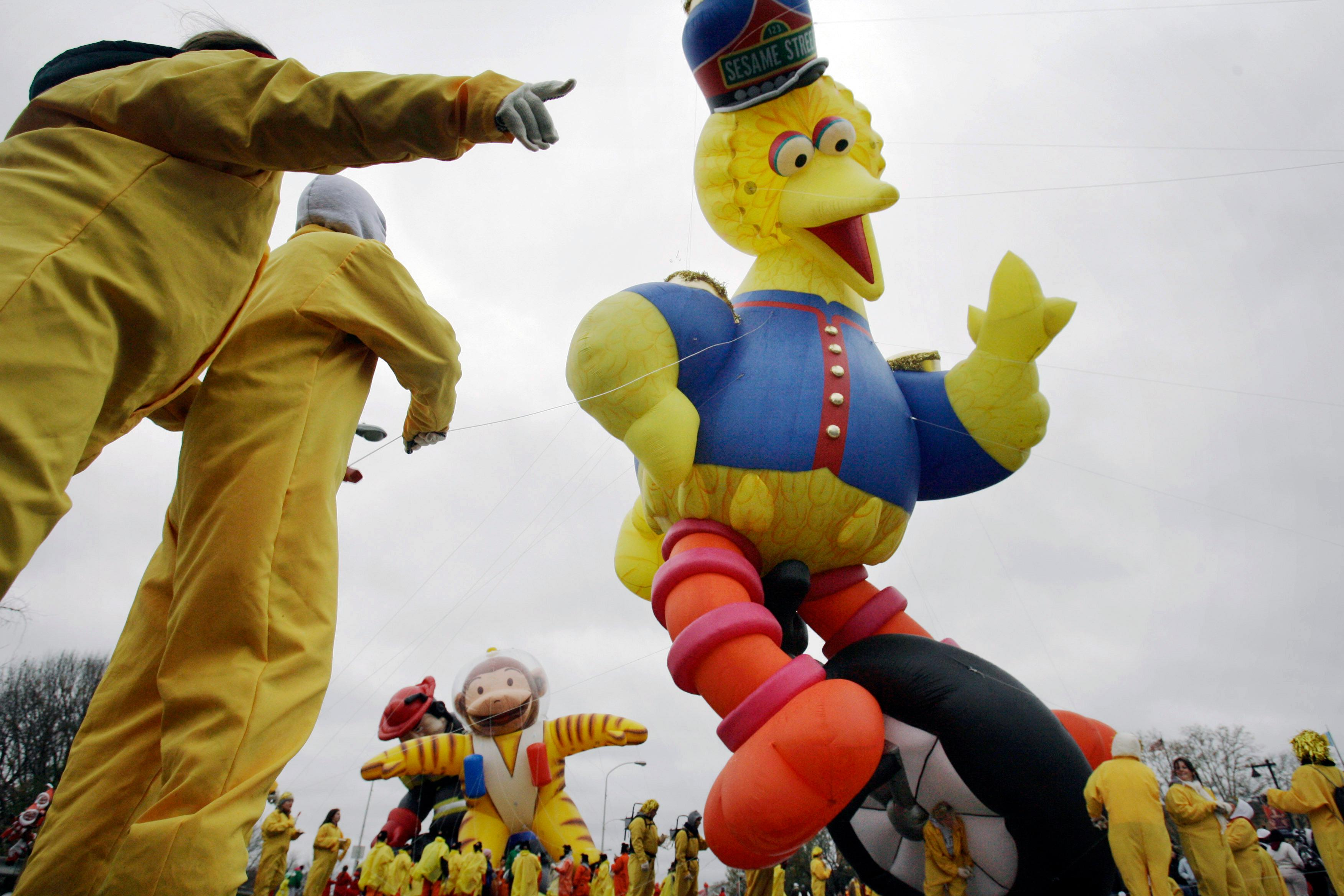 FILE - In this Nov. 23, 2006, file photo, the Sesame Street Big Bird balloon sways in the wind during the annual Thanksgiving Day Parade in Philadelphia.{ } (AP Photo/Matt Rourke, File)