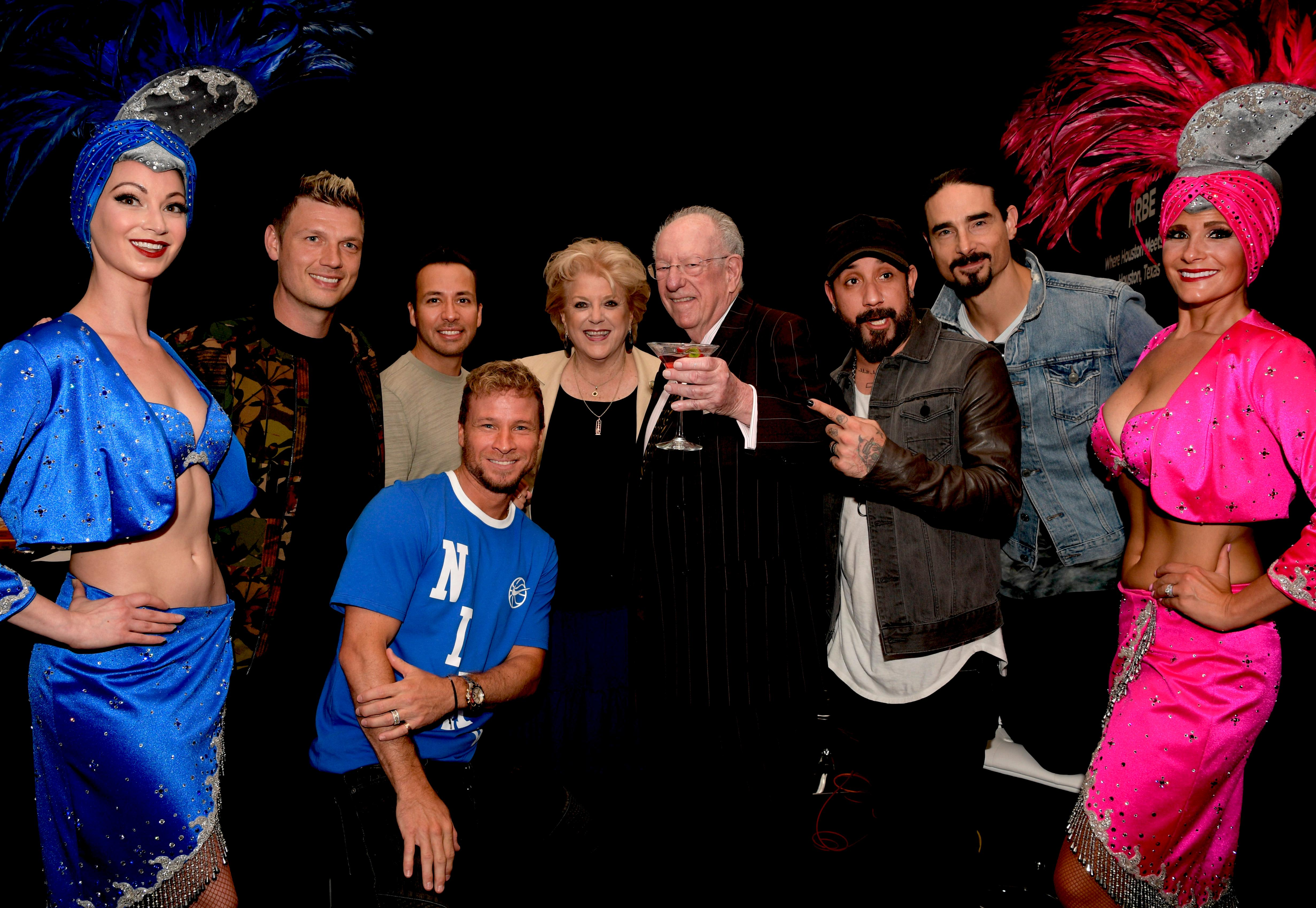 Las Vegas Mayor Carolyn G. Goodman and former Las Vegas Mayor Oscar B. Goodman run into the Backstreet Boys at the Billboard Music Awards Radio Row with representatives from across the country at the MGM Grand Hotel & Casino on the Las Vegas Strip. Saturday, May 19, 2018. CREDIT: Glenn Pinkerton/Las Vegas News Bureau