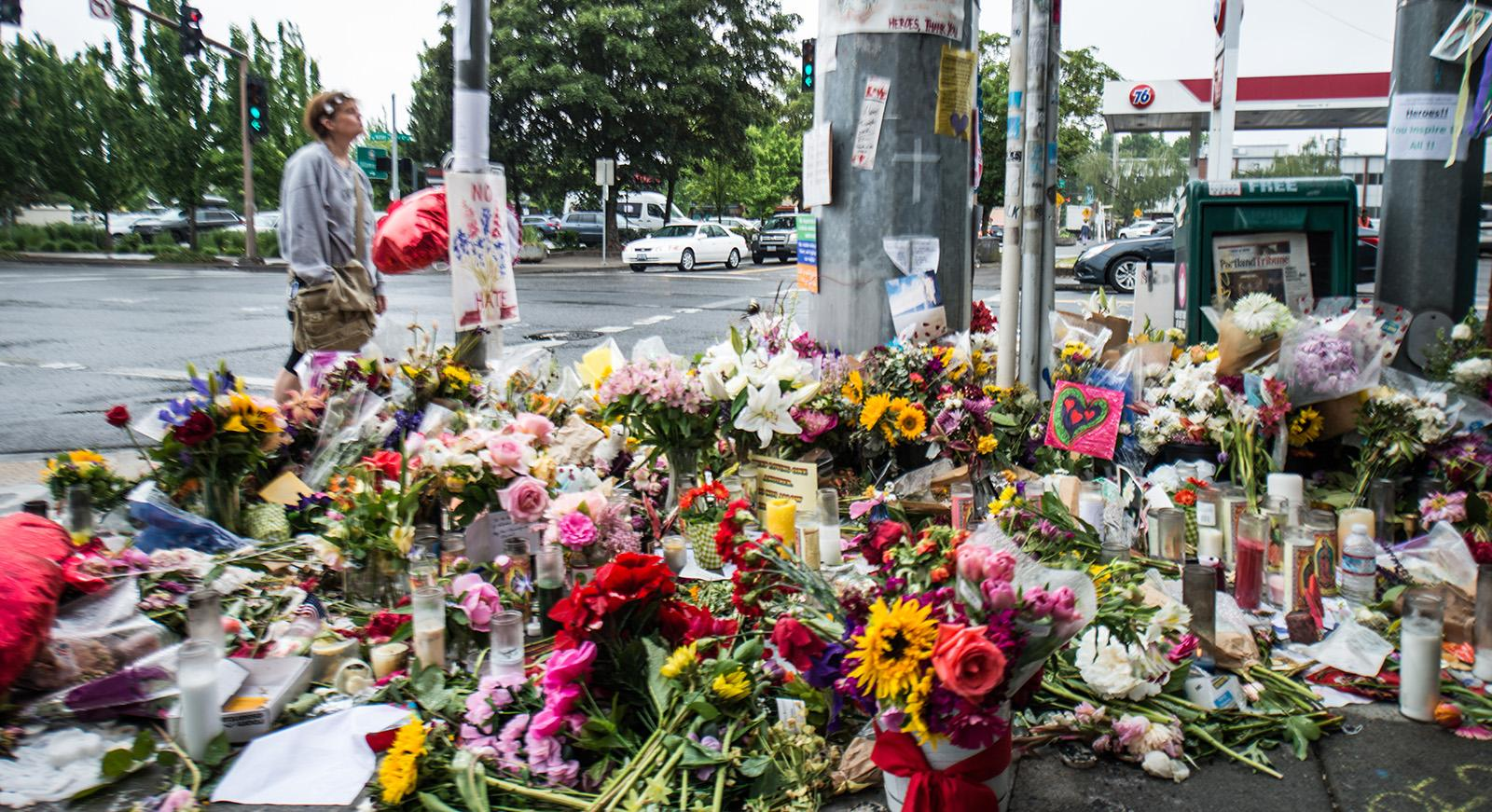 Portland has shown an outpouring of support and love for the heroic actions of the three men who were stabbed, two fatally, after they stood up for two women who were being harassed on a MAX train near Hollywood Transit Center. (KATU photo taken 5-30-2017)