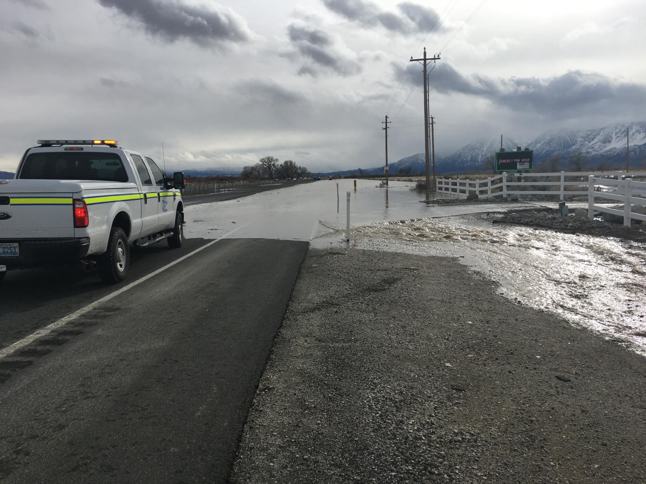 One southbound lane of U.S. 395 at the Carson River just south of Carson City is closed due to water on the roadway.