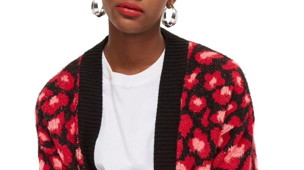 Topshop Leopard Print Cardigan in Red.jpg