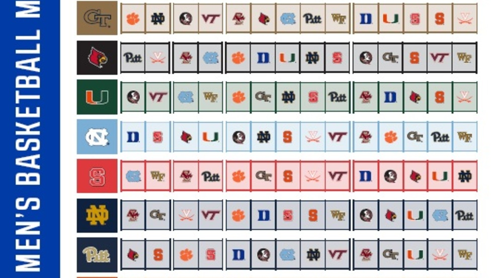 Clever image throughout printable acc men's basketball schedule