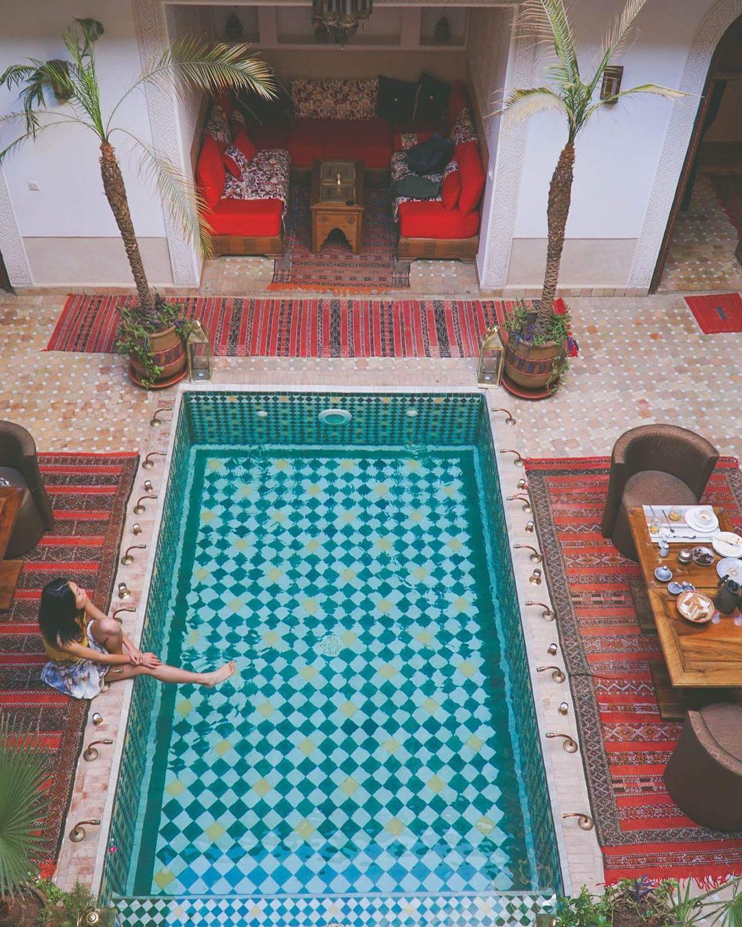 IMAGE: IG user @rayraywanders / POST: Daydreaming by the pool.. thank you Riad @melhoun for one of the most wonderful stays! // PUBLISHED: 12.2.16