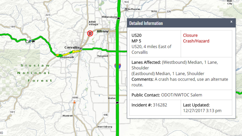 Crash closes Hwy 20 between Corvallis and Albany | KMTR