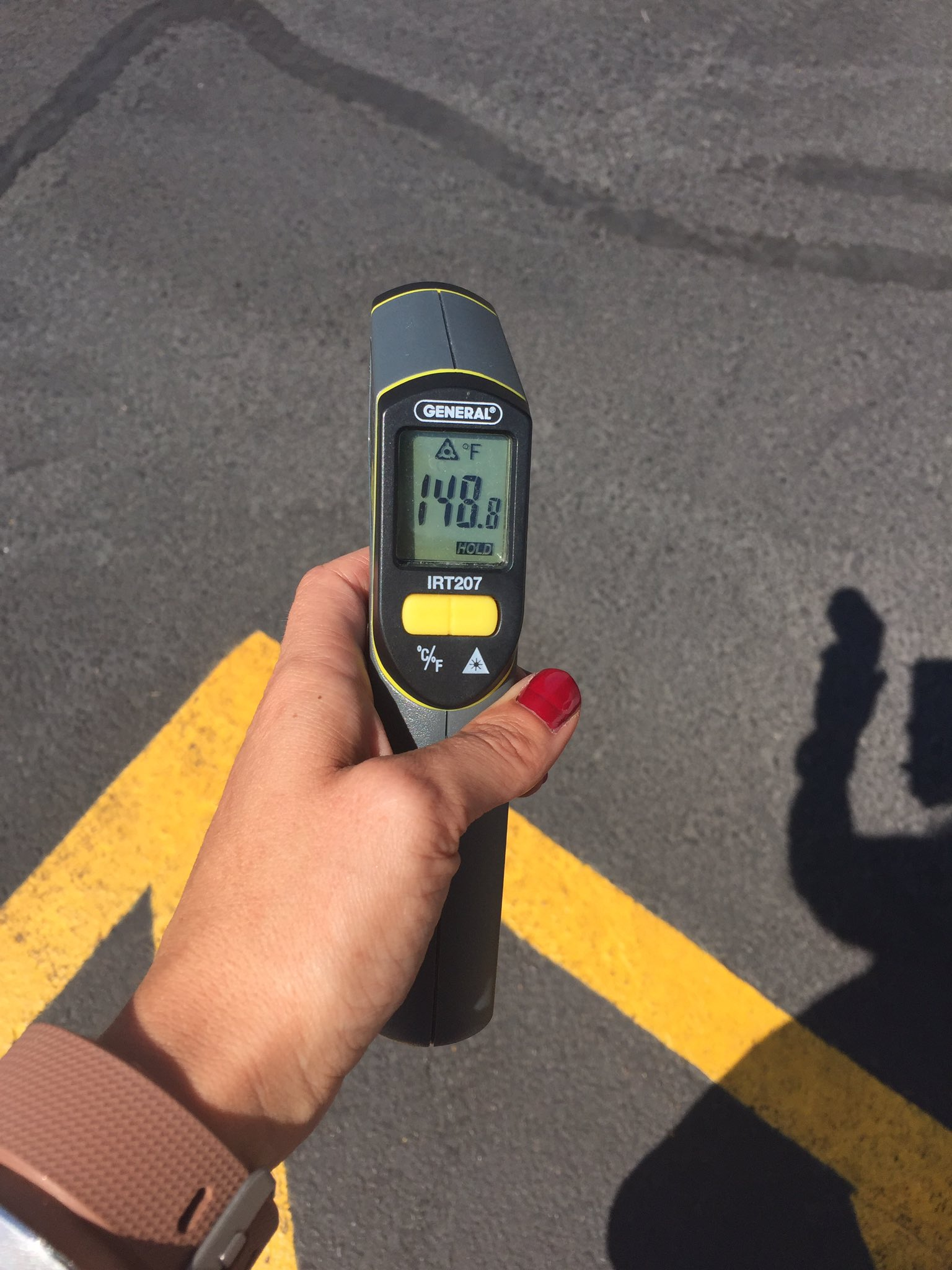 We're tracking the surface heat today. Here's the temp of the concrete just after 10 a.m. 6/20/17 (Chloe Beardsley | KSNV)