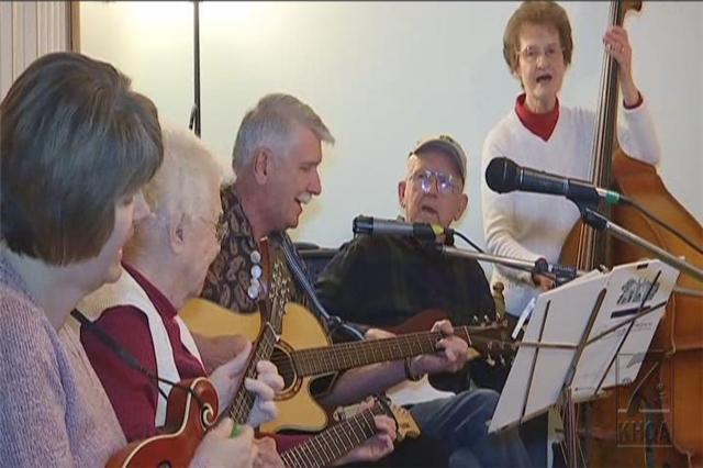 Four generations of the Gillespie family gather for a musical jam once a month.