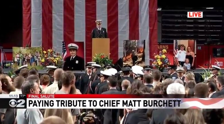 The life of Draper City Fire Department Battalion Chief Matt Burchett is being celebrated with funeral services Monday , 11 a.m., at the Maverik Center in West Valley City. (Photo: KUTV)<p></p>