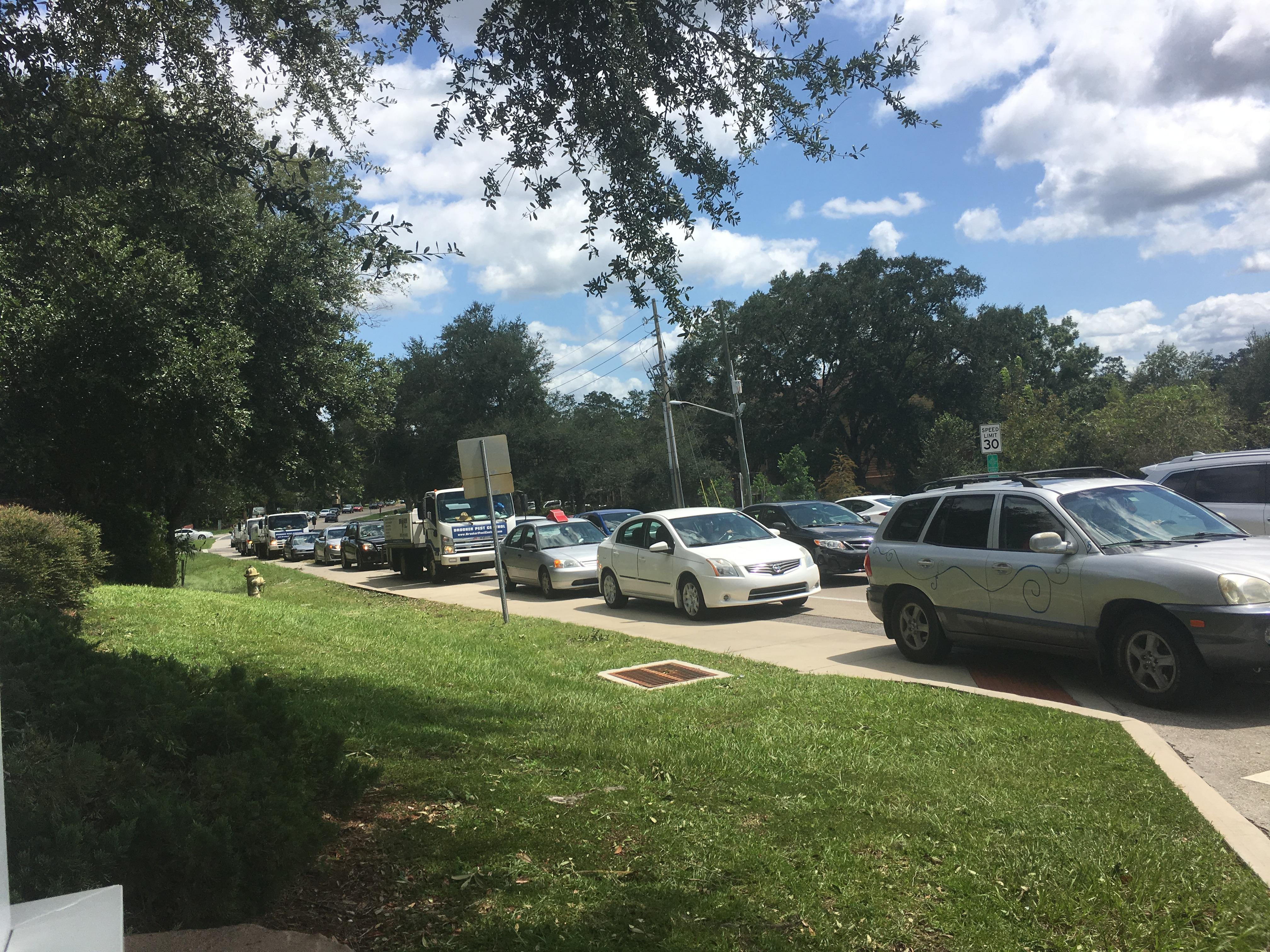 Cars line up for gas in Gainesville. Josslyn Howard/WGFL