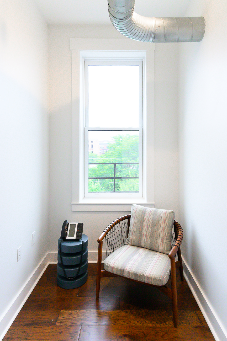 Simplicity is key. Sometimes all you need for a conference call is a single phone and a comfy chair. / Image: Phil Armstrong, Cincinnati Refined // Published: 9.5.19