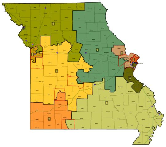 Current congressional districting map