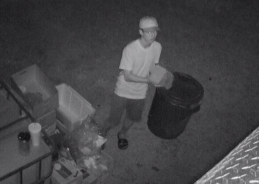 The suspect is described as a white male and at the time of the burglaries, he was wearing dark gray shorts, a white shirt, a hat, and black slip-on shoes. (Photo courtesy Benton Police Department)
