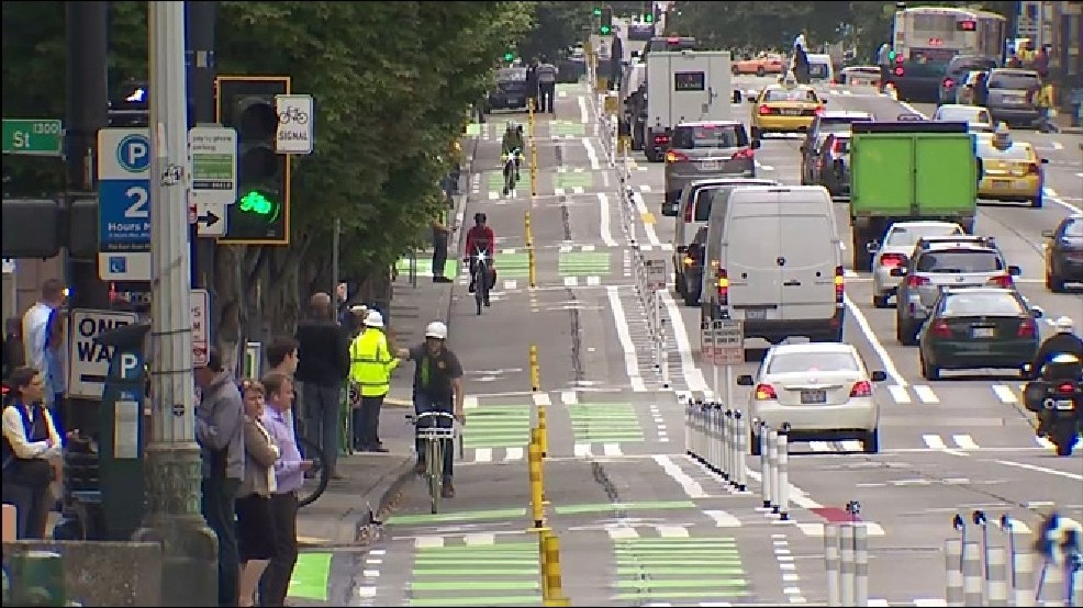 bicycle lanes Seattle downtown KOMO News.jpg