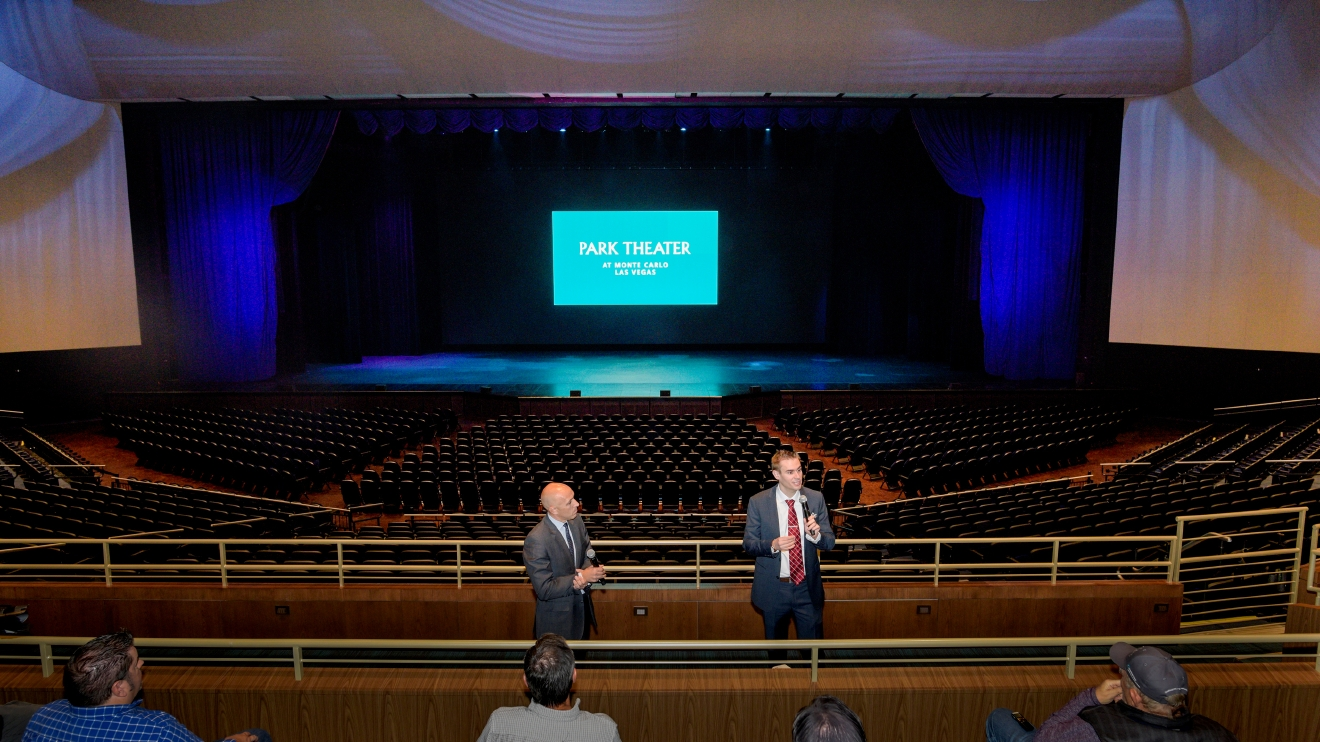 Patrick Miller, left, general manager of the Monte Carlo Resort and Casino, looks on as Daniel Bernbach, executive director and general manager of the Park Theater describes the technical achievements of the 5,200-seat venue during a press preview of the new theater at the Monte Carlo Resort and Casino in Las Vegas on Tuesday, Dec. 6, 2016. The Park Theater opens on Dec. 17 with Stevie Nicks and The Pretenders.  CREDIT: Mark Damon/Las Vegas News Bureau