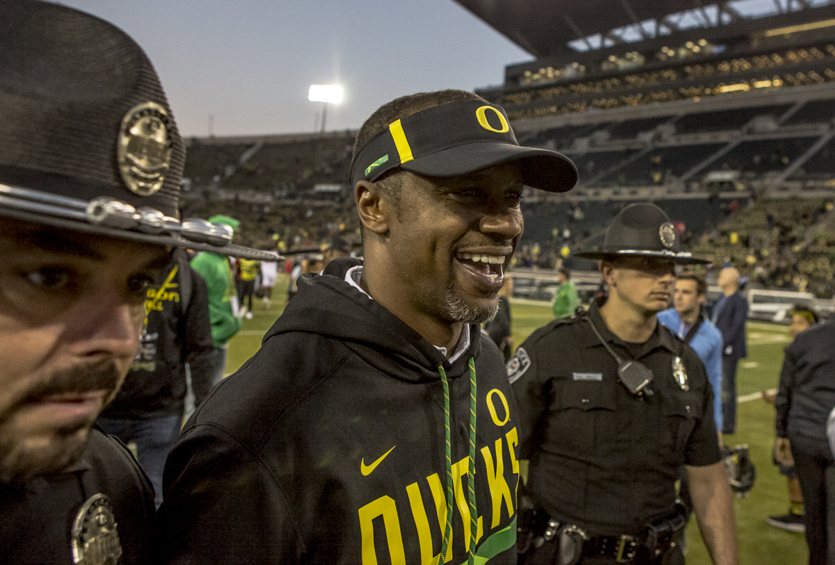 Oregon Head Coach Willie Taggert smiles after Oregon's win against the Utah Utes. The Oregon Ducks defeated the Utah Utes 41 to 20 during Oregon's homecoming game at Autzen Stadium on Saturday, October 28, 2017. Photo by Ben Lonergan, Oregon News Lab