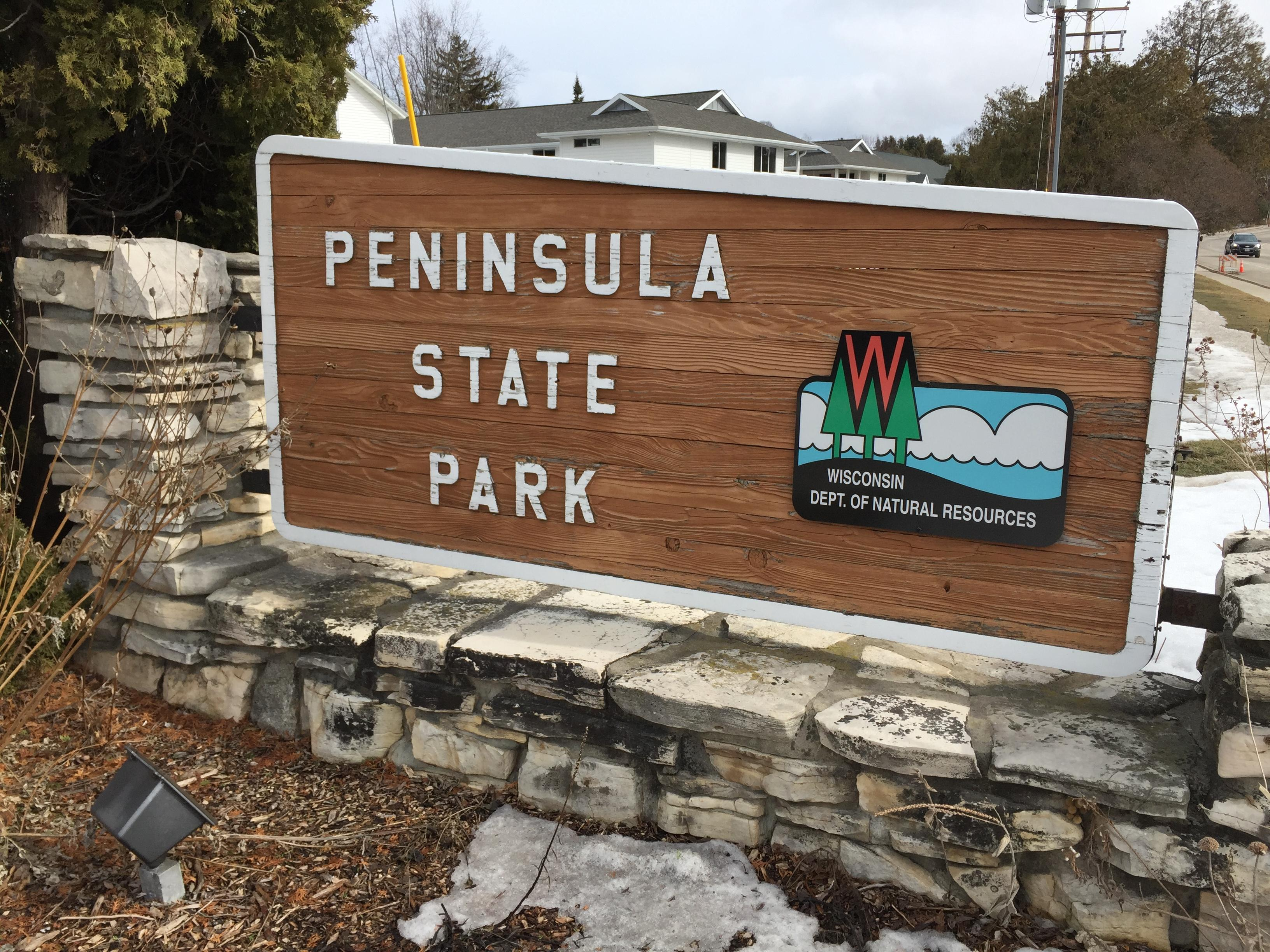Peninsula State Park sign in Door County, March 1, 2018 (WLUK/Eric Peterson)