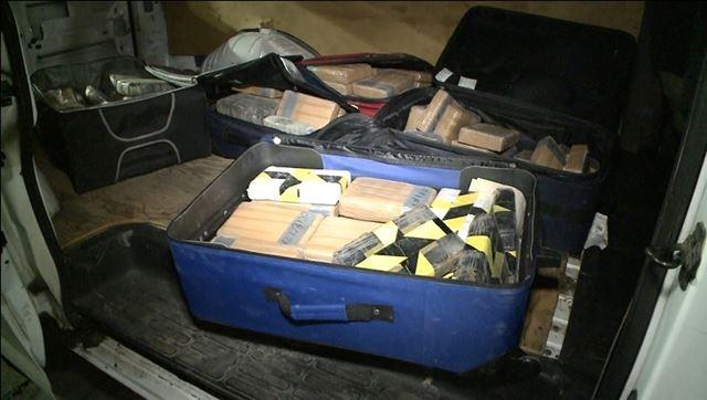 Drugs were also found in smaller packages packed into suitcases.