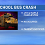 Charleston school bus crashes with a dozen students on board