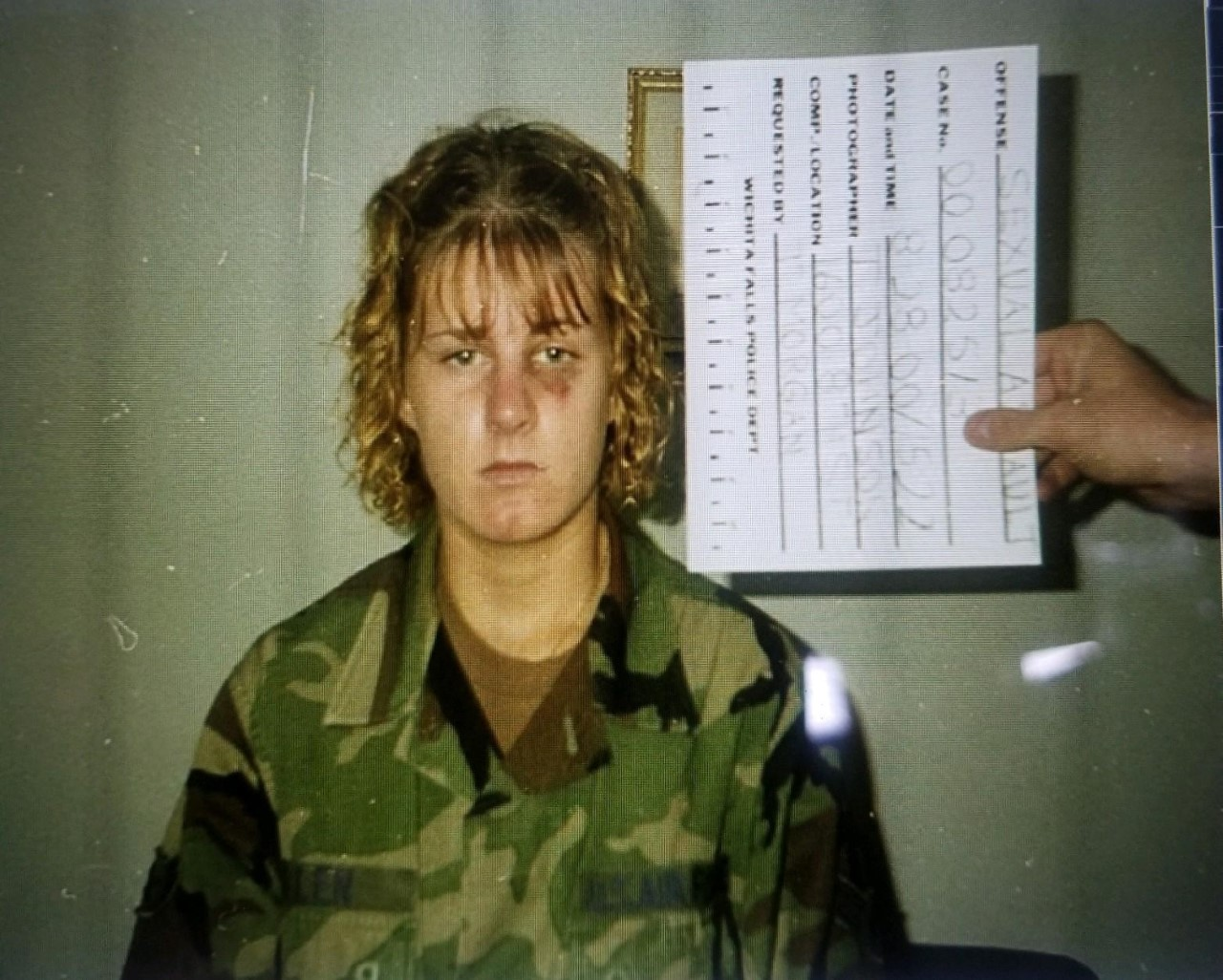 Harmony Allen says she was raped by her sergeant in school on an air force base in 2000.  These photos were taken just after the violent attack (CREDIT: ALLEN)