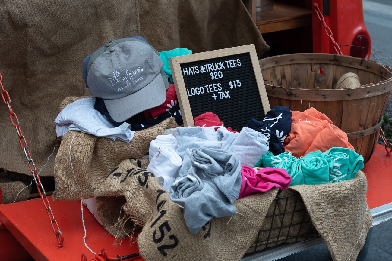 Daisy Jane's Flower Truck sells shirts and hats, too! / Image: Phil Armstrong, Cincinnati Refined // Published: 5.5.19