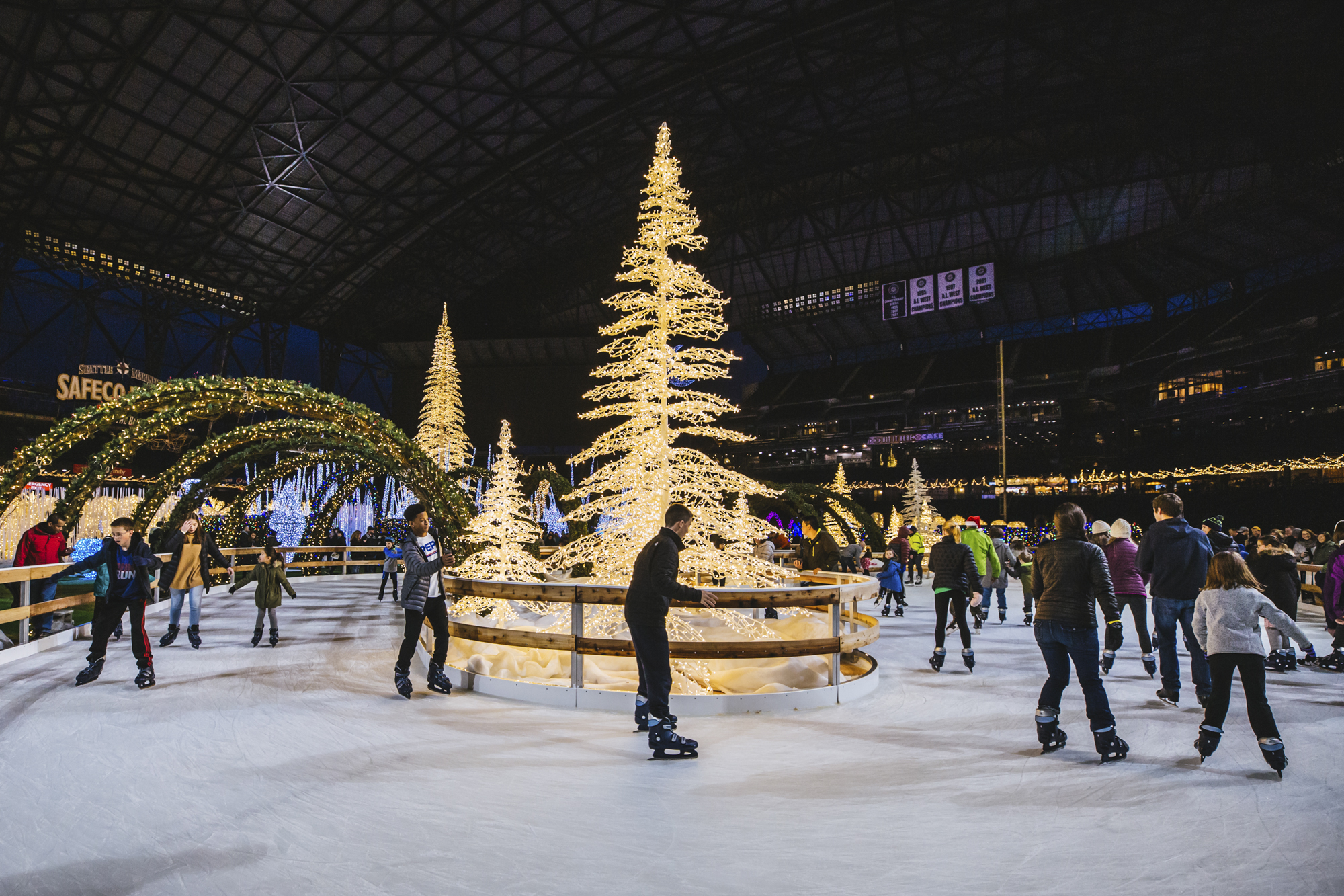The Enchant Christmas experience has landed at Safeco Field! The winter wonderland is taking over, complete{ }with a 8,500 square foot ice skating rink shaped in lazy river style, huge light mazes with larger than life sculptures and illuminated archways, live music, a Christmas marketplace and more. Enchant Christmas runs{ }November 23 - December 30, with tickets start at $19.99. More online{ }enchantchristmas.com. (Image: Sunita Martini / Seattle Refined)