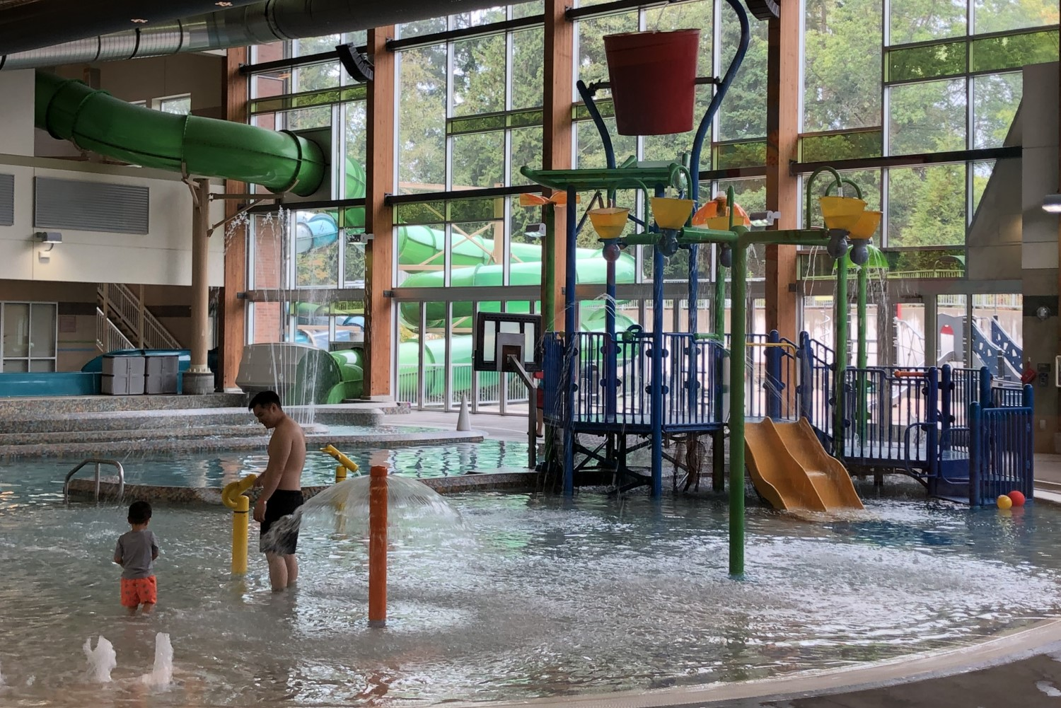 Located within the Lynnwood Recreation Center, this pool/water park playground is a favorite of local families. (Image: Jeff Totey / Seattle Refined)