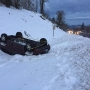 SUV rolls into snowy ditch at Highway 30, Cornelius Pass