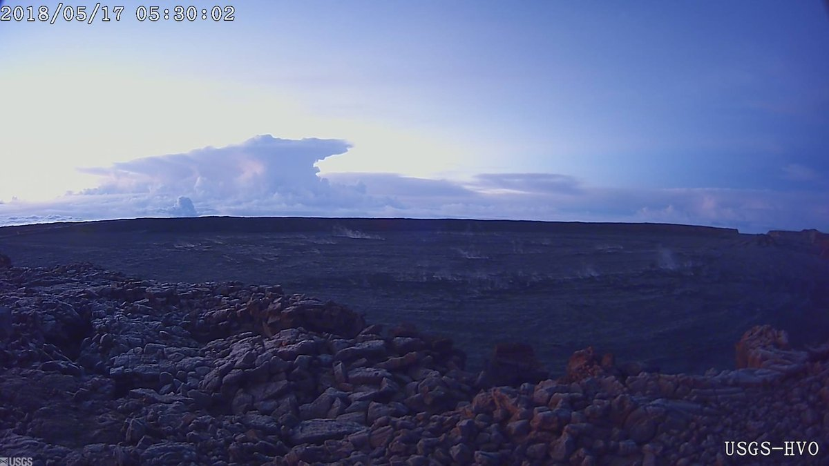This photo provided by U.S. Geological Survey shows the ash plume at the K?lauea Volcano, taken from a Mauna Loa webcam on Thursday, May 17, 2018 in Hawaii.  The volcano has erupted from its summit, shooting a dusty plume of ash about 30,000 feet into the sky. Mike Poland, a geophysicist with the U.S. Geological Survey, confirmed the explosion on Thursday. It comes after more than a dozen fissures recently opened miles to the east of the crater and spewed lava into neighborhoods.   (U.S. Geological Survey/HVO via AP)