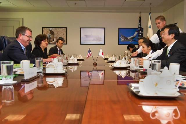 Deputy Defense Secretary Ash Carter meets with Akinori Eto, Japan's senior vice defense minister at the Pentagon July 29, 2013. The two leaders discussed matters of mutual concern.