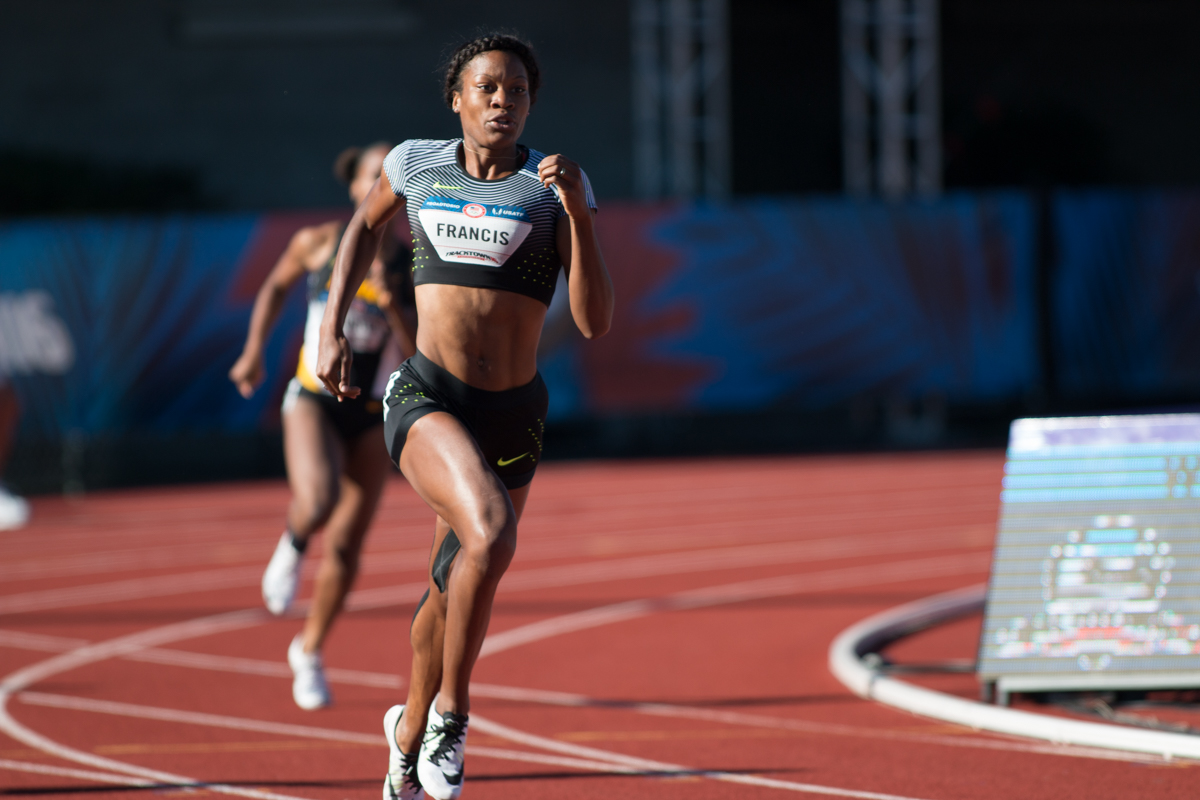 Former Duck Phyllis Francis comes around the Bowerman curve in the women�s 400m. She took 2nd overall and will move on to the next round. Photo by Dillon Vibes
