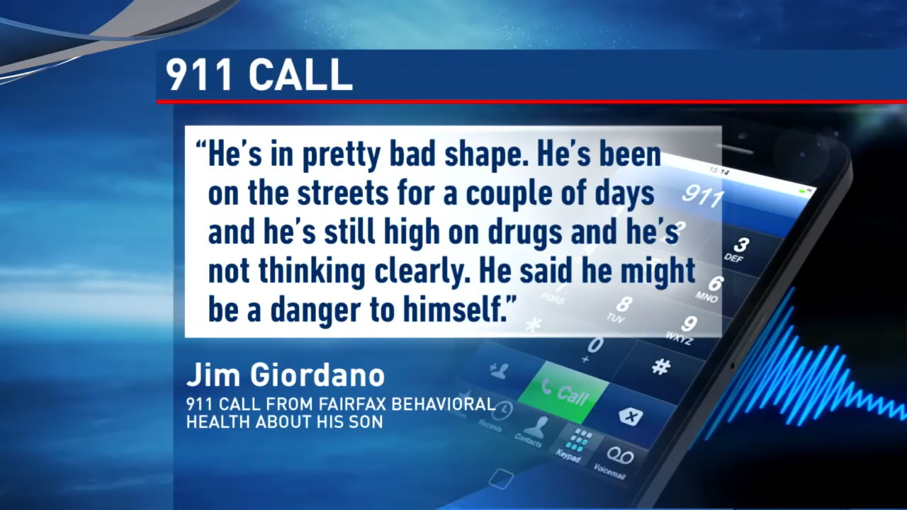 In the 911 recording, Jim Giordano can be heard describing his son's features and asking to have an officer sent to find him. The man told the dispatcher that his son had been living homeless in Seattle but had agreed to be checked into Fairfax Behavioral Health then changed his mind. (Photo: KOMO News)<p></p>