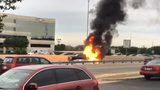 Truck burns as three other vehicles collide during morning rush hour on Loop 410